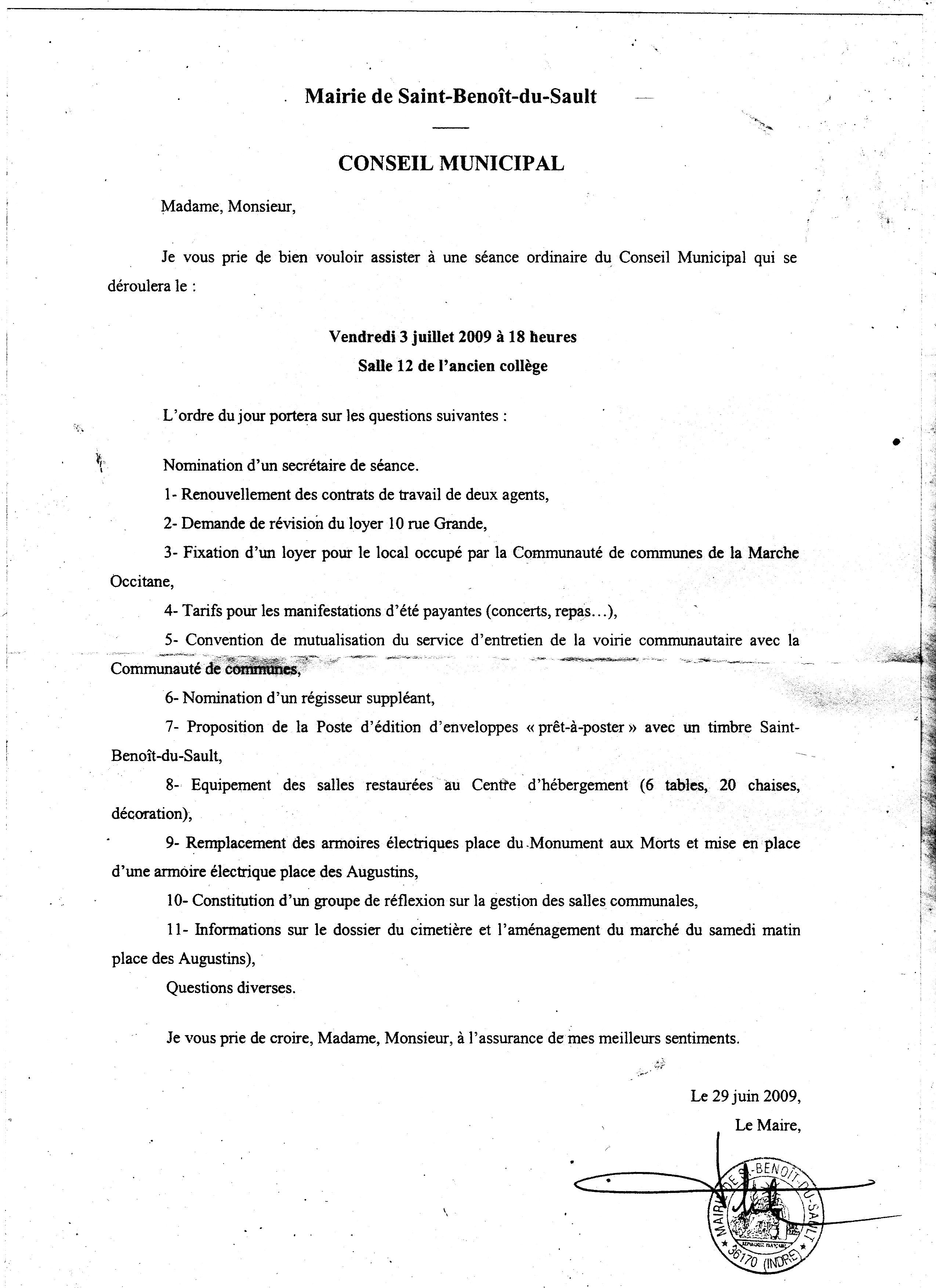 St Benoit   Index Actualités 2009/06